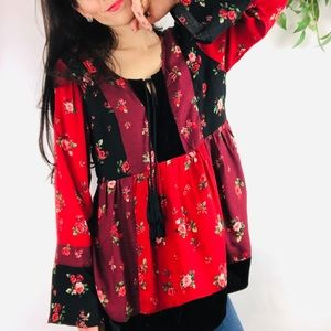Style & Co Floral Patchwork Velvet Bell Sleeve Top